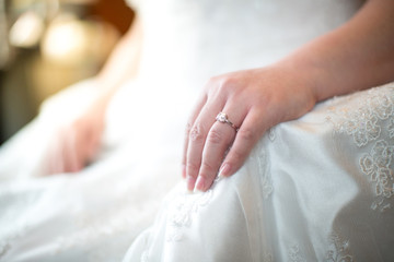 brides hands with rings,Rings of wife.Two hands on a wedding day.