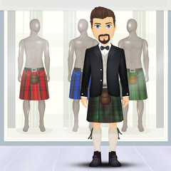 illustration of kilt shop