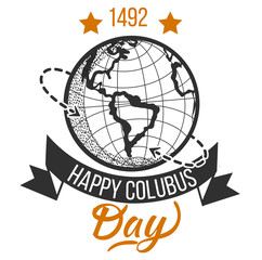 Happy Columbus Day logo signs with globe