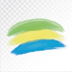 Flag of Gabon concept in watercolor. Isolated on transparent background. Vector illustration.