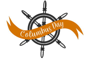 Columbus Day logo sigh with steering wheel symbol