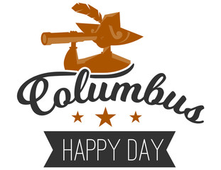 Happy Columbus Day logo sign with sailor