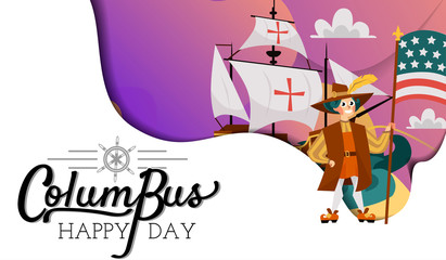 Columbus Day poster with Columb and Santa Maria card text logo design template,