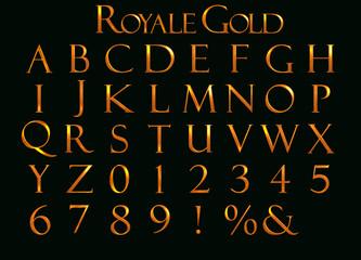 Royle Gold Alphabet - 3D Illustration