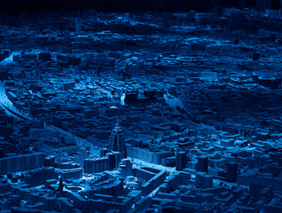 Dramatic areal view Moscow city at night background