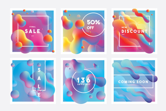 Set of vibrant colorful banner templates with marketing announcements and floating liquid gradient shapes in blue, purple, pink and yellow color combinations