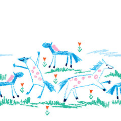 Fototapeta Vector seamless pattern with crayon children drawing of primitive blue horses, green grass and red flower on the white background. Kids hand drawn animal pattern in simple sketch style with horse.