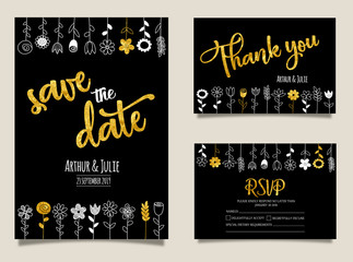 Wedding cards collection with hand drawn plants.Vector trendy flowers. Modern set of abstract card, template,posters,invitation