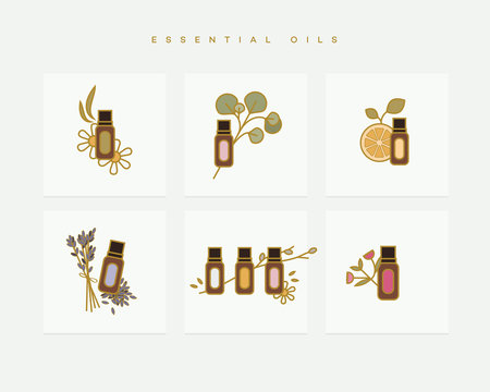 Set of colorful vector icons depicting essential oil bottles