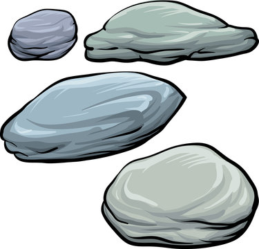 Set of stones, rock elements different shapes and shades of gray, cartoon style boulders set, on white background