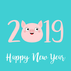Happy New Year 2019 pink text. Cute pig face head. Piggy piglet. Chinise symbol. Cartoon funny kawaii smiling baby character. Flat design. Blue background. Isolated.