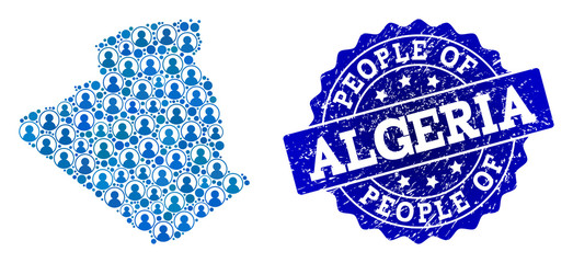 People combination of blue population map of Algeria and unclean seal. Vector seal with unclean rubber texture. Mosaic map of Algeria designed with rounded users.