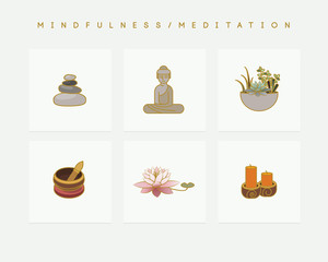 Set of colorful vector icons depicting mindfulness and meditation theme with healing stones, Buddha statue, succulent bowl, lotus flower,candles and Tibetan singing bowl