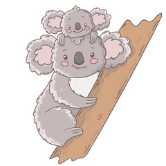 Cute mother and baby koala bears on a tree. Vector kid illustration.