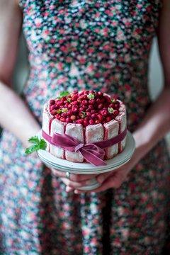 Wild strawberry Charlotte with woodruff mascarpone cream and rose de Reims biscuits