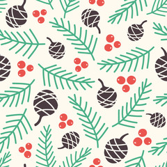 Pinecones, berries and branches in retro colors. Seamless vector pattern with pine cones.