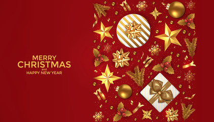 Holiday New year card - 2019 on red background 3