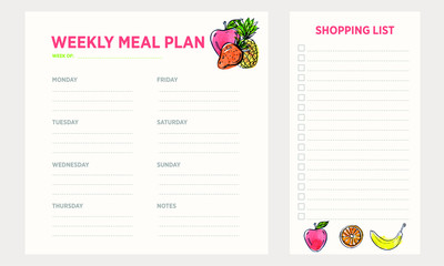 Weekly Meal Planning, Shopping List