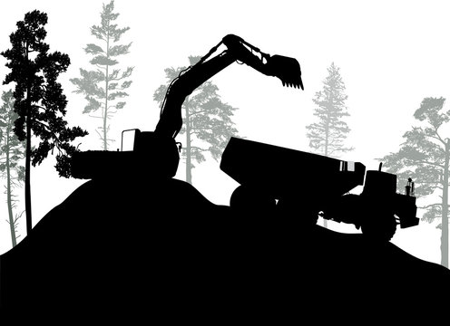 black excavator silhouette near trees isolated on white