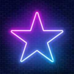 Neon glowing star sign. Can be used as a text frame.
