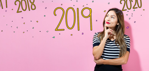 2019 with young woman in a thoughtful pose