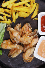 Wings with chips above view