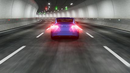 Modern Electric car rides through tunnel 3d rendering