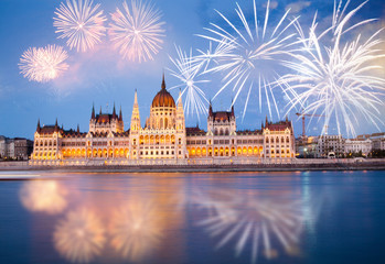 Printed kitchen splashbacks Budapest fireworks around Hungarian parliament- New Year destination, Budapest