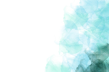 Abstract watercolor light blue and green background