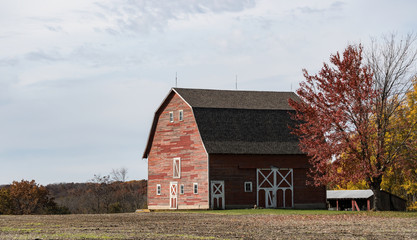 Old Red Barn in the Countryside
