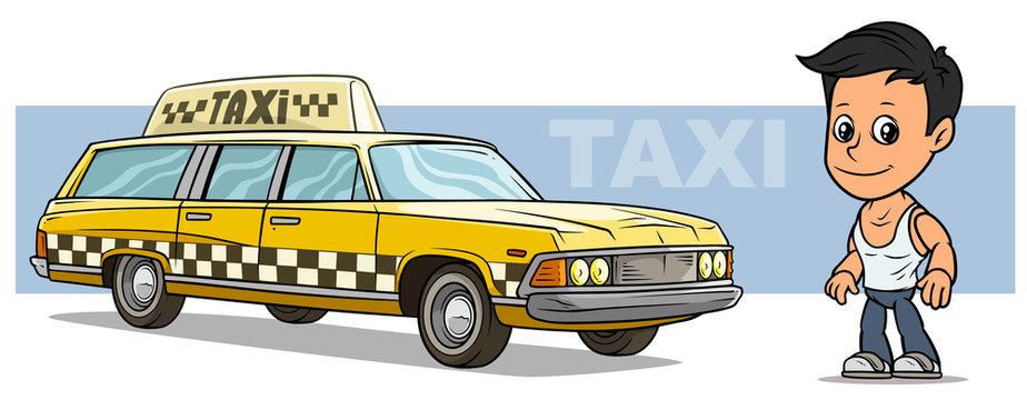 Cartoon boy character with yellow retro taxi car