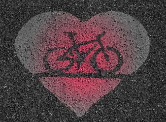 Fahrradweg mit Herz