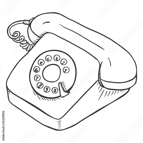 Vector Sketch Rotary Retro Phone Stock Image And Royalty Free