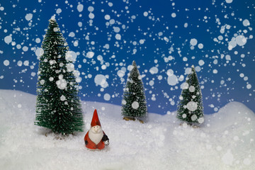 Little Santa Claus in the snow