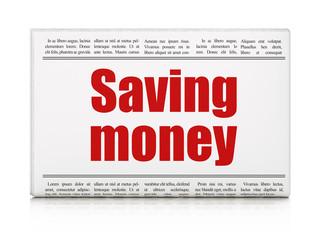 Business concept: newspaper headline Saving Money on White background, 3D rendering