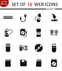Memory drives. Set of 16 high quality web icons