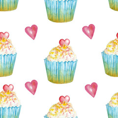 watercolor pattern with cupcakes with pink heart