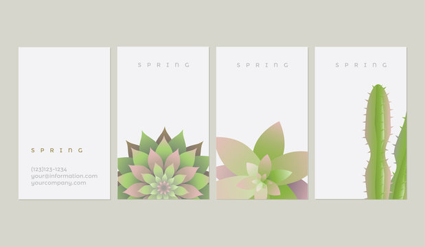 Spring business card templates with green succulents and cacti plant