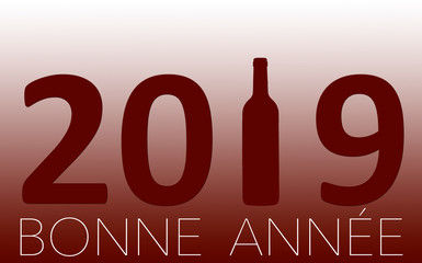 New Year Celebration with wine 2019 on red background