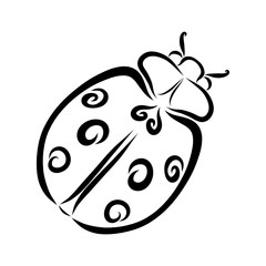 Cute ladybug with heart and spirals, black outline