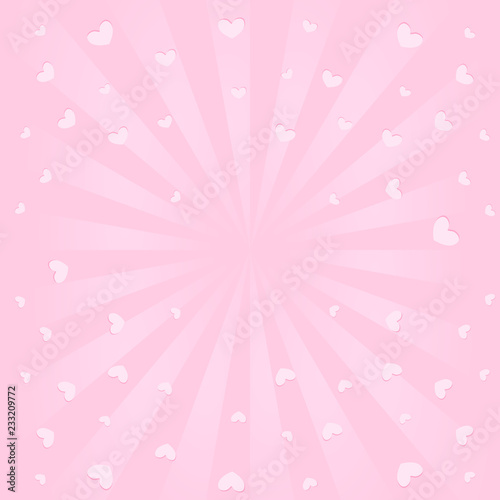 Cute pink background with sunbeams, flying hearts in air  Romantic