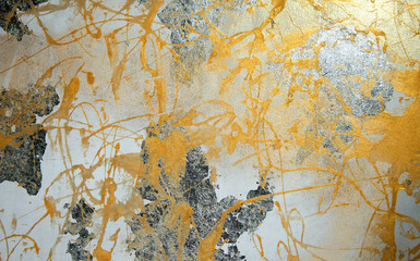 painting on drywall, yellow paint, silver patina, composition, texture