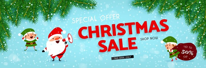 Christmas sale, banner with Santa Claus, elf, snow, christmas tree, Vector llustration