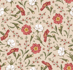 Seamless pattern. Realistic blooming isolated flowers Vintage fabric background. Beautiful agrostemma primrose Croton wildflowers. Wallpaper baroque. Drawing engraving. Vector victorian Illustration