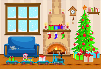 Vector illustration of Christmas living room with Christmas tree, gifts, sofa, table with treats, snow-covered window, fireplace and a toy railway with a locomotive.