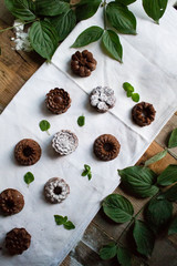 Mini bundt cocoa cakes on table