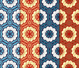 Photo sur Toile Tuiles Marocaines Set of Seamless texture of floral ornament. Vector illustration. For the interior design, printing, web and textile