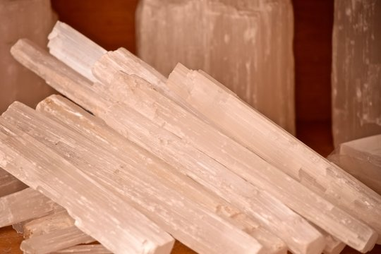 selenite crystal wands gypsum sticks for healing, mental clarity, remove energy blocks in crystals and stones