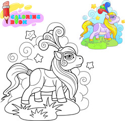coloring book, cartoon pony for a walk, funny illustration