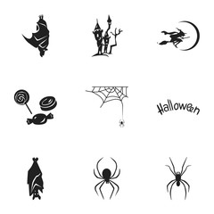 Halloween icon set. Simple set of 9 halloween vector icons for web design isolated on white background